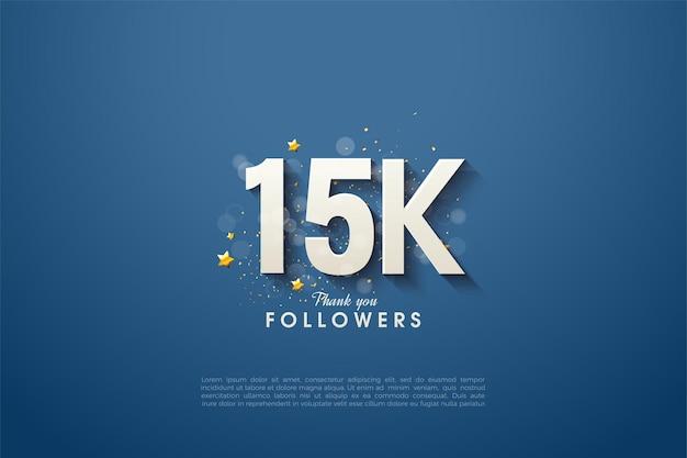 15000 abonnés avec des chiffres ombragés sur un fond bleu marine foncé.