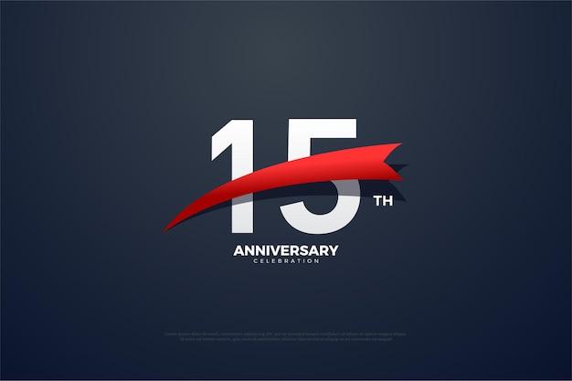 15e anniversaire avec des chiffres et un petit logo rouge