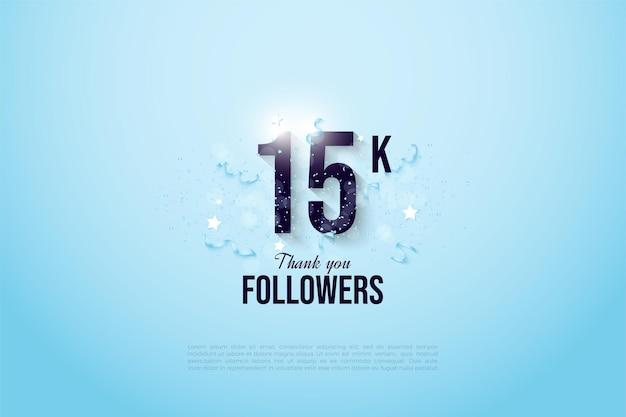 15k abonnés avec des chiffres et des cadeaux sur un fond bleu ciel clair.