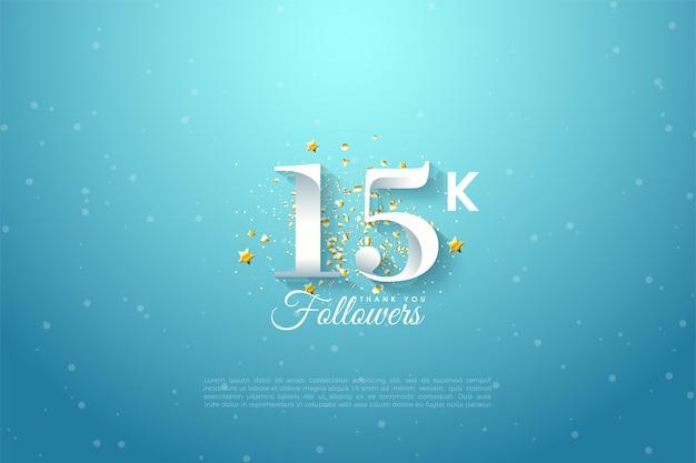 15k abonnés avec illustration de nombres uniques et de petites étoiles.