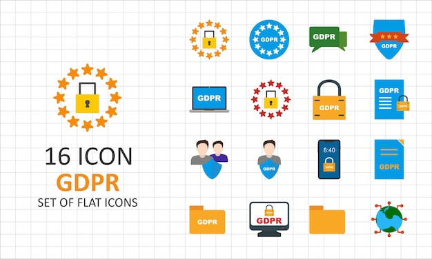 16 gdpr flat icon sheet pixel perfect icons