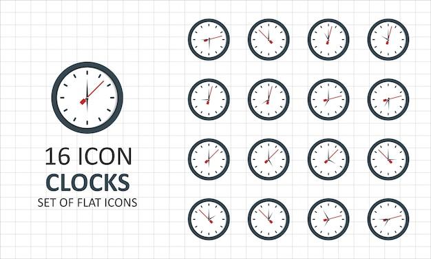 16 Horloges Plat Icone Feuille Pixel Parfait Icones Vecteur Premium