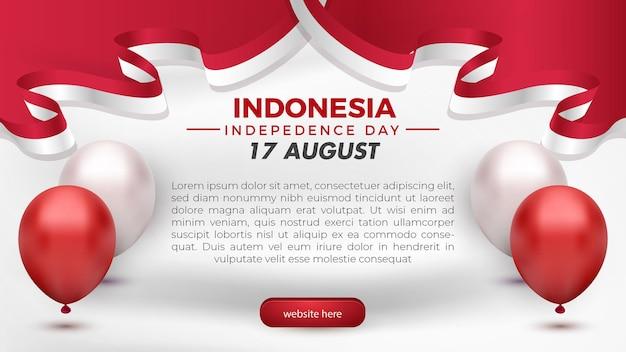 17 août, fête de l'indépendance de l'indonésie, carte de voeux modèle de bannière de flyer de médias sociaux