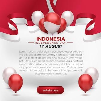 17 août, fête de l'indépendance de l'indonésie carte de voeux modèle de médias sociaux flyer ballon