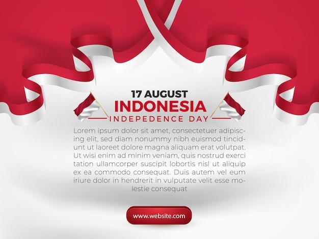 17 août, fête de l'indépendance de l'indonésie, flyer modèle de bannière de carte de voeux avec drapeau