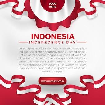 17 août, fête de l'indépendance de l'indonésie, flyer modèle de carte de voeux pour les médias sociaux