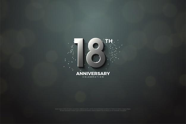 18e anniversaire avec illustration de chiffres en argent 3d
