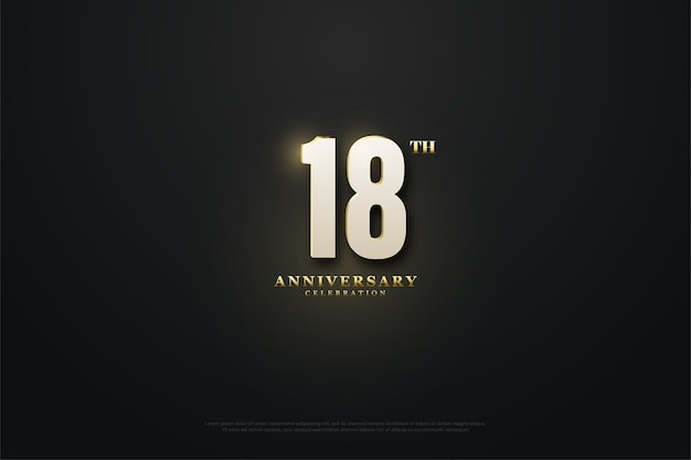18e anniversaire avec illustration de chiffres illuminés