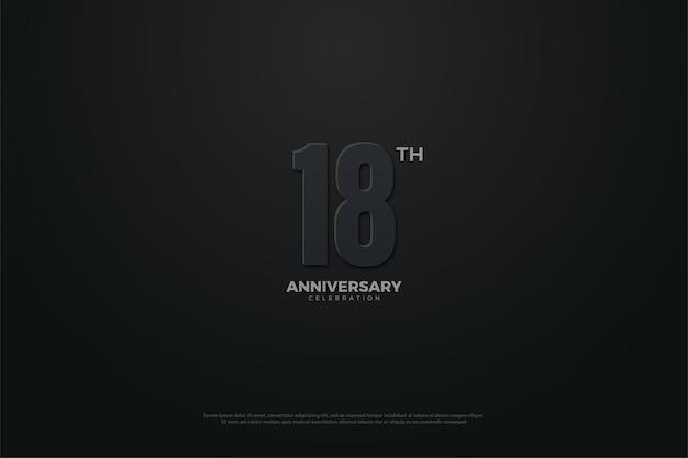 18e anniversaire avec illustration de chiffres sur le thème sombre