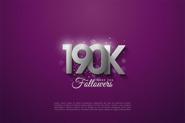 190 000 abonnés avec des chiffres argentés sur fond violet