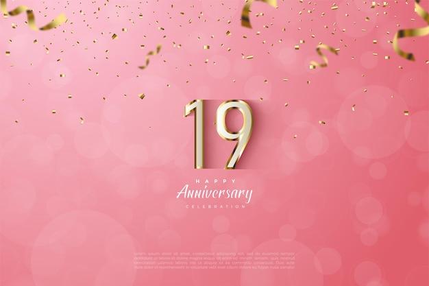 19e anniversaire avec des chiffres luxueux en or.