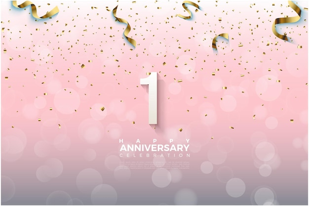 1er anniversaire avec illustration de ruban doré tombant sur les chiffres.