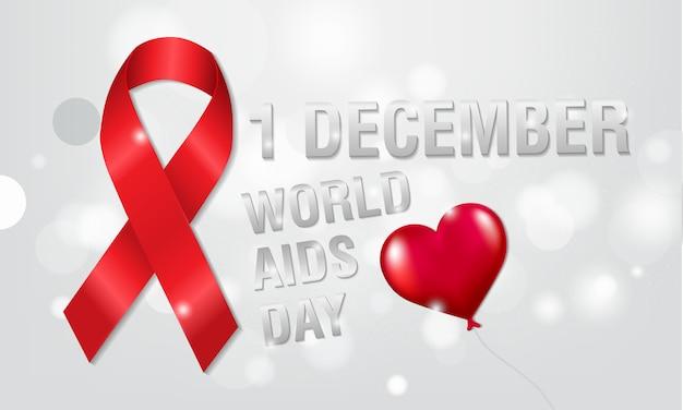 1er décembre, concept de la journée mondiale du sida. ruban rouge ou ruban du vih. sensibilisation au sida.