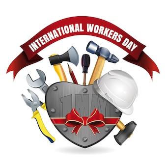 1er mai. carte de voeux de bonne journée internationale des travailleurs