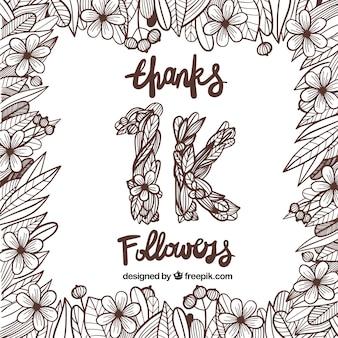 1k fond suiveur avec des fleurs et des feuilles dessinées à la main