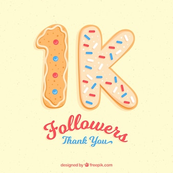 1k suiveur fait de fond de biscuit