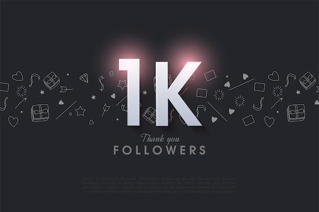 1k suiveur avec un nombre brillant sur le dessus.