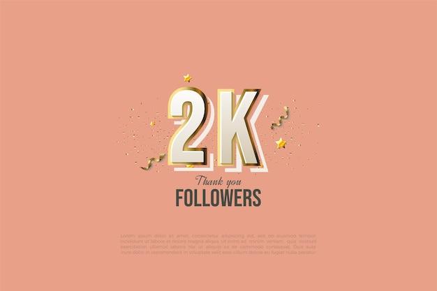 2 000 abonnés avec des chiffres modernes