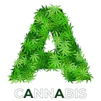 2 de 6. lettre a. modèle de conception de logo de feuille d'annabis ou de marijuana. chanvre pour emblème, logo, publicité de services médicaux ou emballage. icône de style plat. isolé