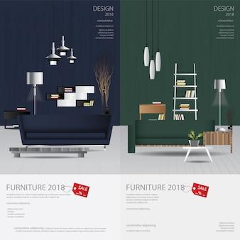 2 bannières verticales meubles vente conception modèle illustration vectorielle