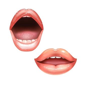 2 belles lèvres féminines brillantes avec des dents. couleur rouge à lèvres rose.