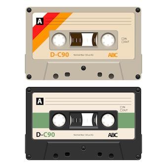 2 cassettes avec étiquette rétro comme vintage.