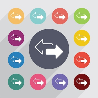2 cercle de flèches latérales, ensemble d'icônes plates. boutons colorés ronds. vecteur