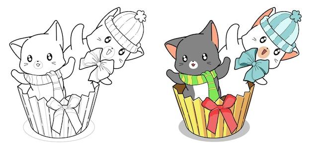 2 Chats Mignons Dans La Page De Coloriage De Dessin Animé De Cupcake Vecteur Premium