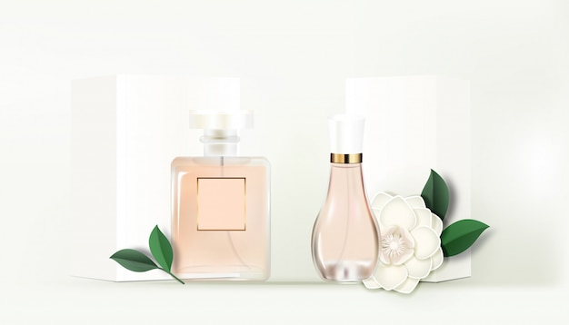 2 flacons de parfum avec boîte blanche et gardenia - bannière en papier fleuri