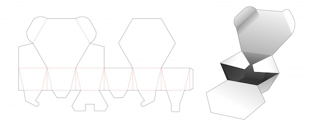 2 flips boîte hexagonale conception de modèle découpé