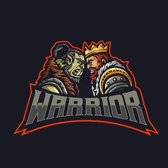 2 guerriers face à face c'est un orc et un roi humain.