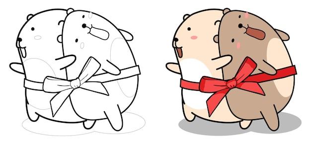 2 ours mignons avec dessin animé arc à colorier