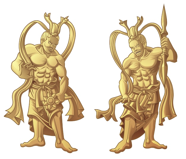 2 sculptures en bois de dieux japonais.