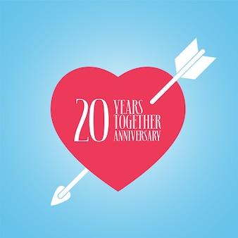 20 ans d'anniversaire du logo vectoriel de mariage ou de mariage