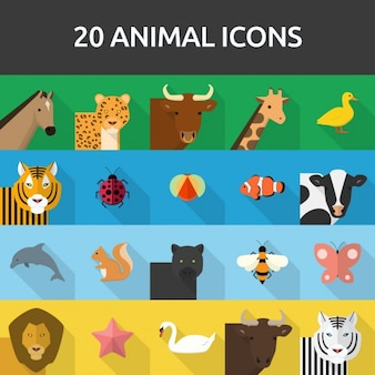 20 icônes d'animaux