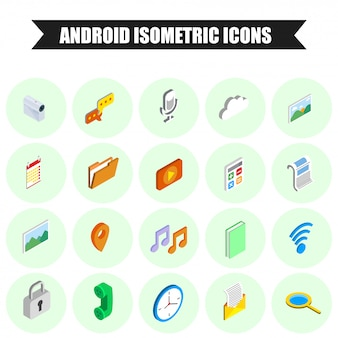 20 icônes isométriques android définies.
