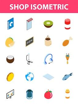 20 jeu d'icônes isométriques de magasin.