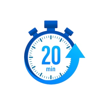 Les 20 minutes, icône vectorielle du chronomètre. icône de chronomètre dans un style plat, minuterie sur fond de couleur. illustration vectorielle.