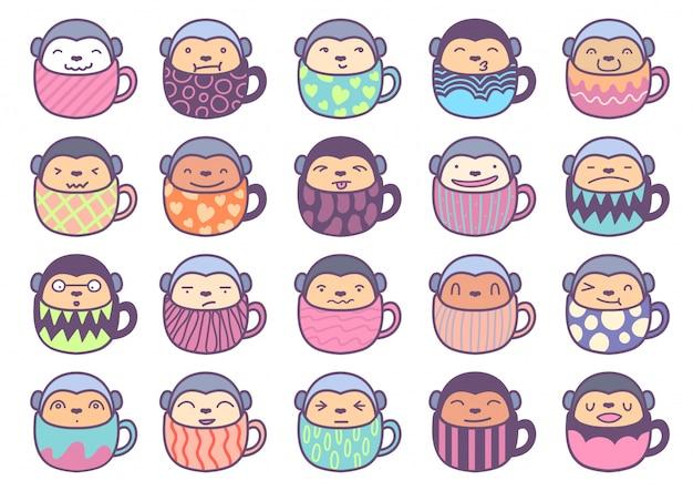 20 personnage de singe autocollant mignon à l'intérieur de la tasse