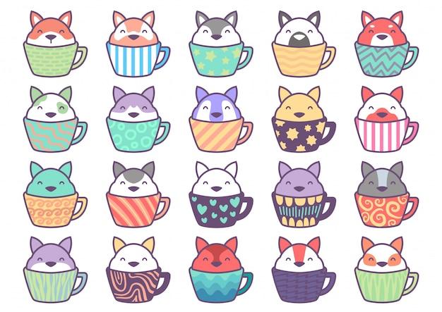 20 personnage de sticker de chien mignon à l'intérieur de la tasse