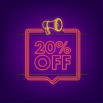 20 pour cent de réduction sur la bannière néon avec mégaphone. étiquette de prix de l'offre de remise. icône plate de promotion de remise de 20 pour cent avec ombre portée. illustration vectorielle.