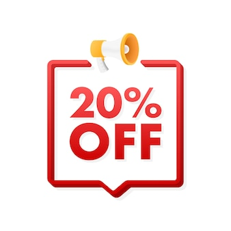 20 pour cent de réduction sur la bannière de réduction de vente avec l'étiquette de prix de l'offre de réduction de mégaphone