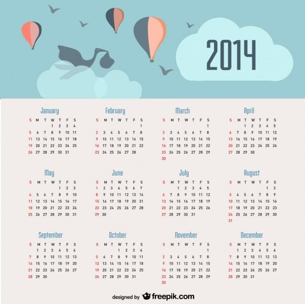 2014 calendrier d'annonce de bébé et des ballons dans le ciel