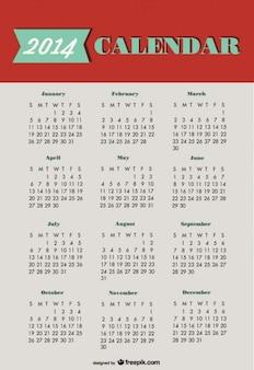 2014 calendrier conception verte rouge