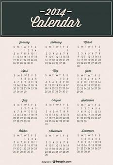 2014 calendrier de modèle minimaliste moderne