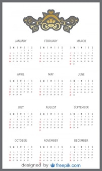 2014 calendrier avec tête décorative