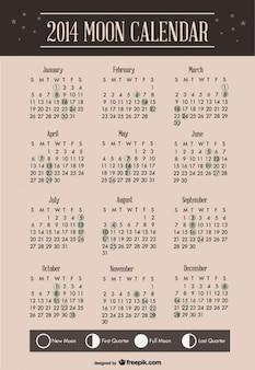 2014 conception de modèle de calendrier de la lune