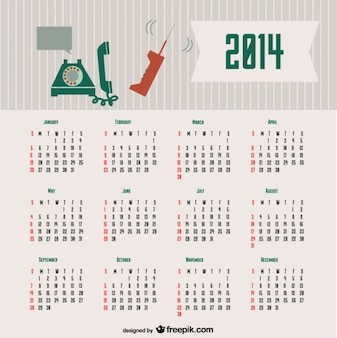 2014 notion calendrier rétro de communication conception