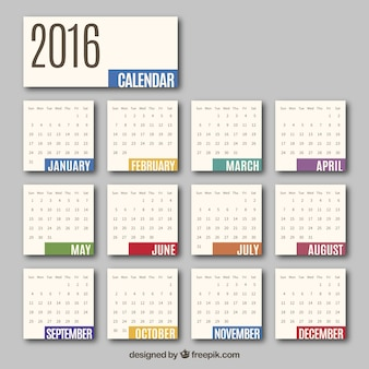 2016 calendrier mensuel
