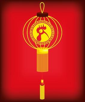 2017 l'année chinoise du coq affiche vector illustration